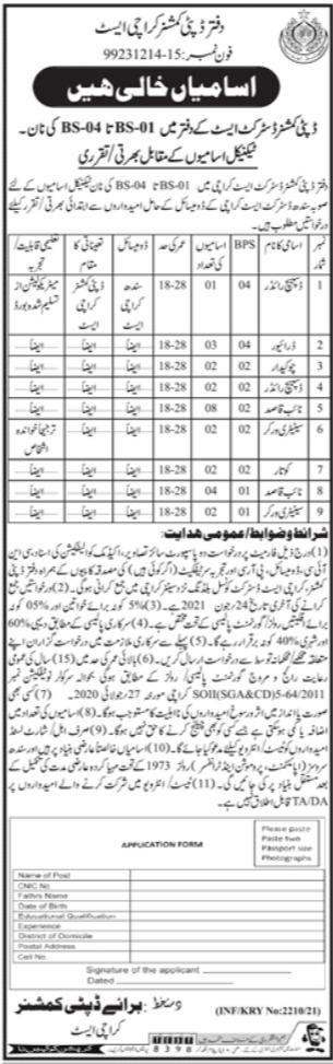 Deputy Commissioner Karachi East Non Technical Jobs 2021 Latest