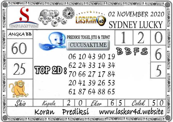 Prediksi Sydney Lucky Today LASKAR4D 02 NOVEMBER 2020