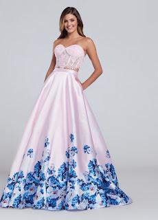 Pink floral print prom dress