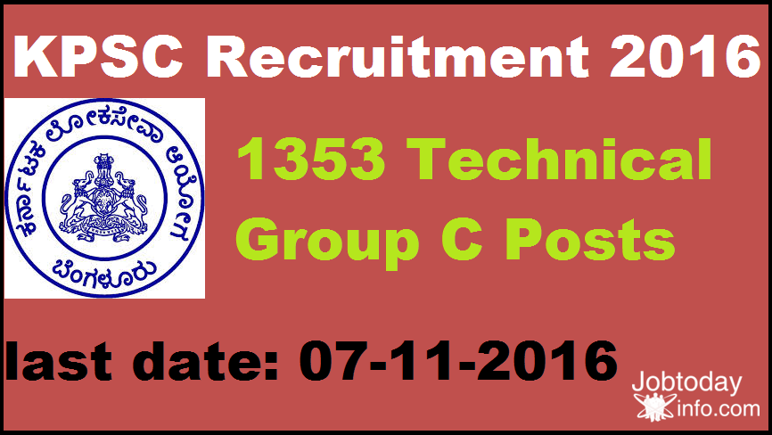 KPSC Recruitment 2016 Apply Online 1353 Technical Group C Posts