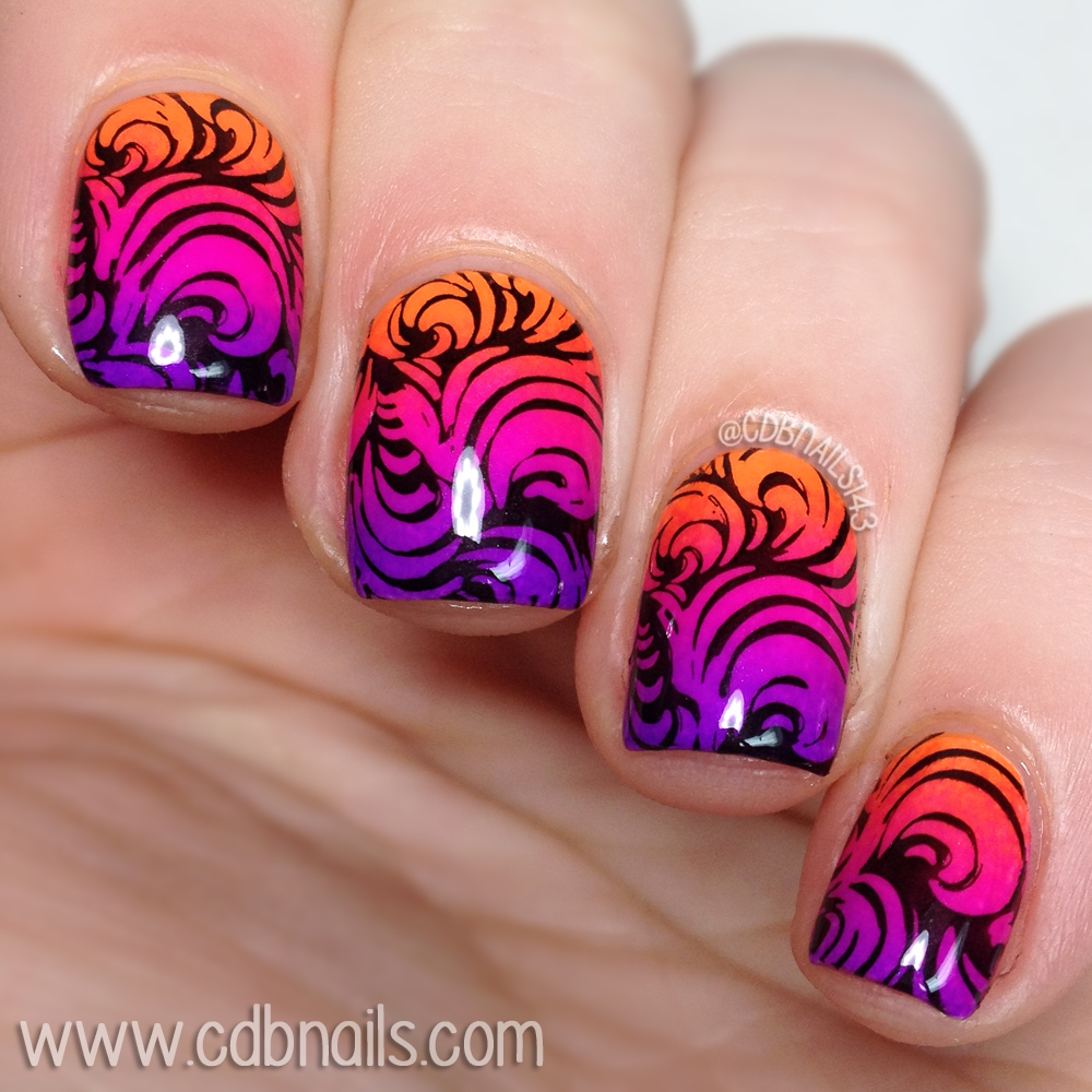 cdbnails: Twin Nail Challenge | Neon Ombre with Black Swirls