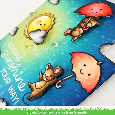 Sending Sunshine Your Way Card by Samantha Mann, Lawn Fawnatics Challenge, Lawn Fawn, Weather, Rain, Distress Inks, Ink Blending, Encouragement, #lawnfawn #lawnfawnatics #encouragement #cards #cardmaking #handmadecards #distressink #inkblending