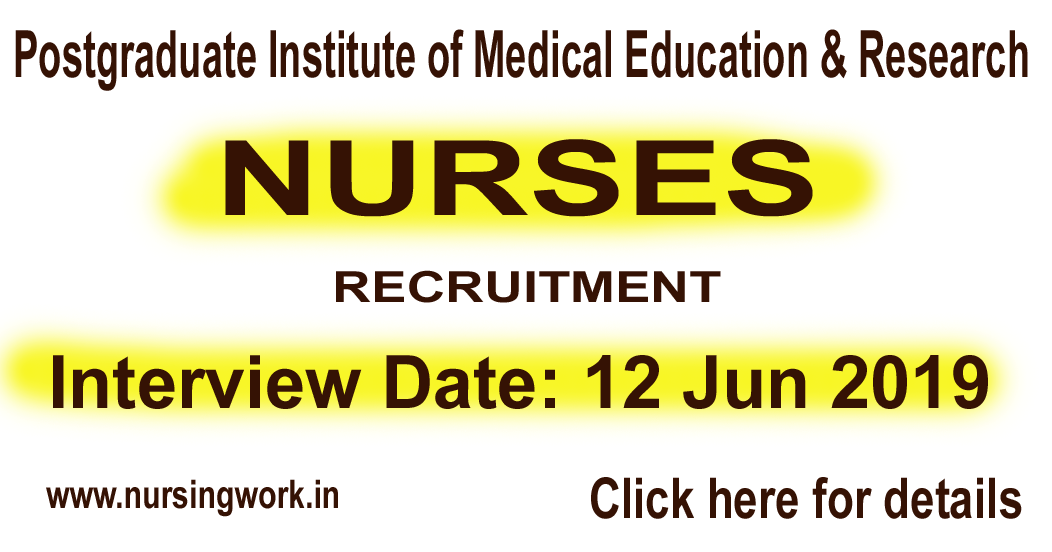 nursing jobs  pgimer jr  nurses recruitment