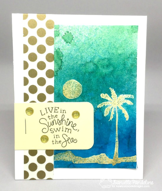 Palm Tree Sunset Card by Danielle Pandeline | Paradise Palms stamp set by Newton's Nook Designs #newtonsnook