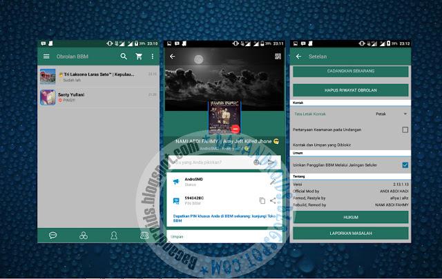 download BBM Mod Tema DarkGreen Material Apk Versi 2.13.1.13