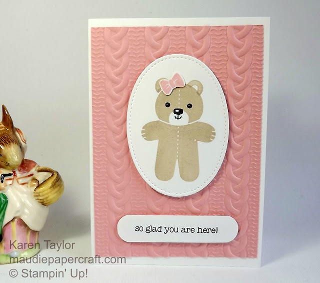Stampin' Up! new baby card using Cookie Cutter Christmas bear and cable knit embossing folder