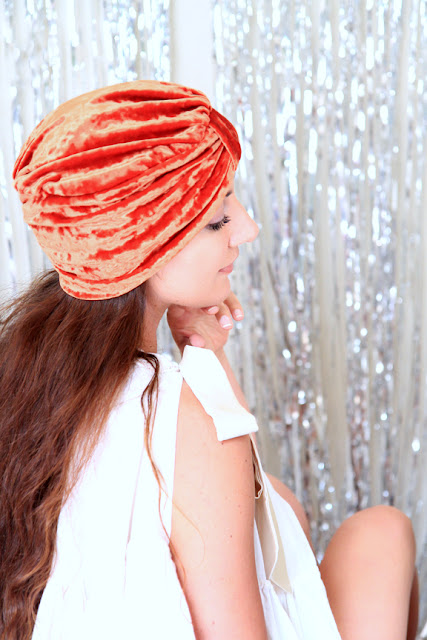 Crushed Velvet Turban in Rust Orange by Mademoiselle Mermaid