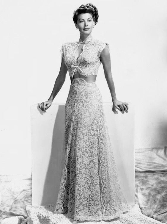 Ava Gardner Standing In White Lace Evening Gown