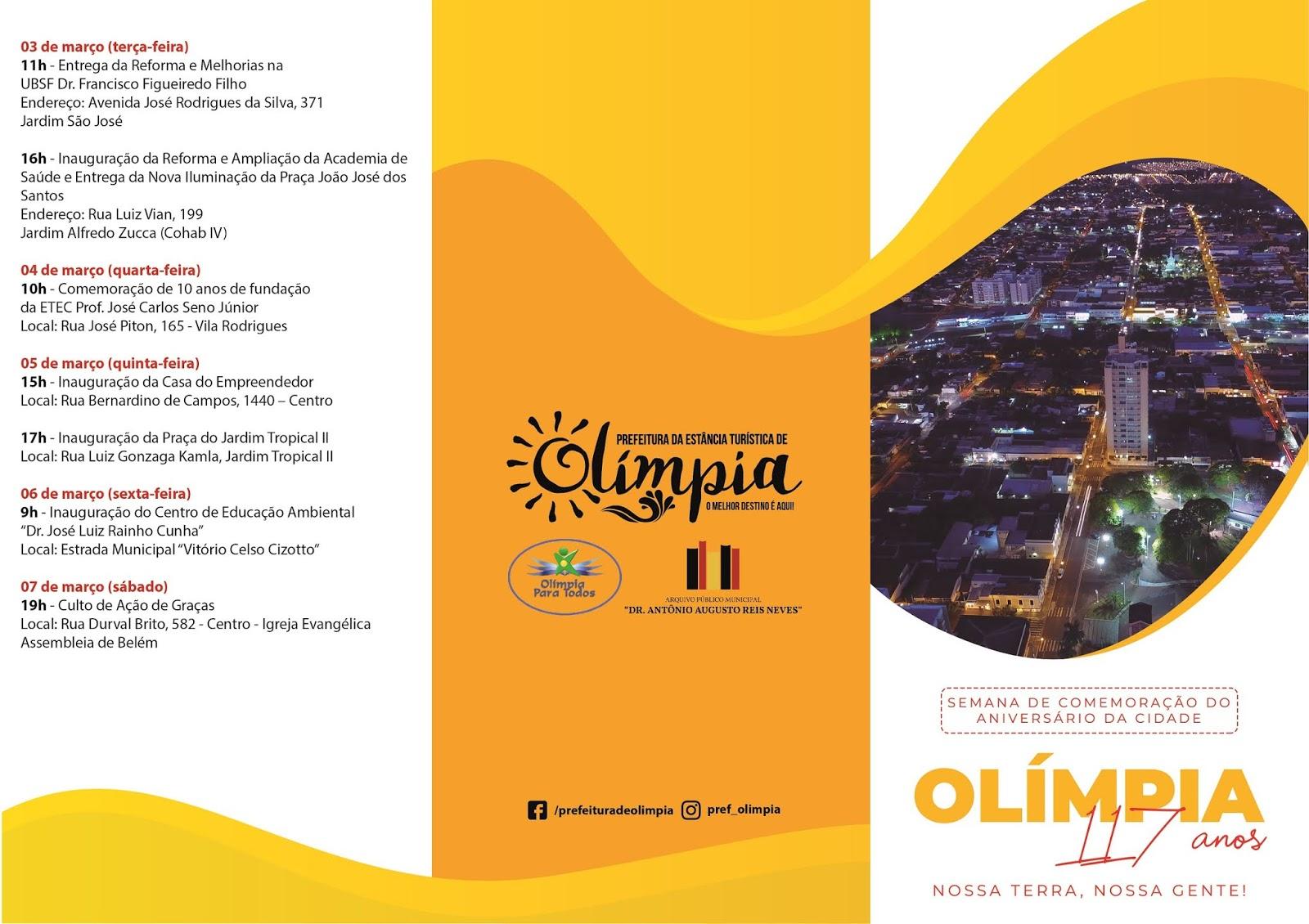 Olímpia divulga programação para o aniversário da cidade
