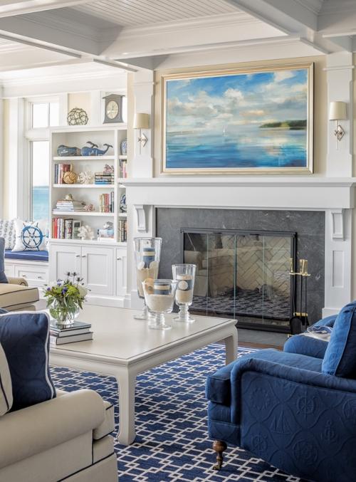 Large Framed Ocean Art New England Living Room