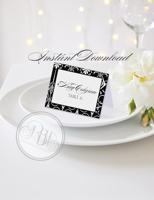 black white art deco place name place card by rbhdesignerconcepts