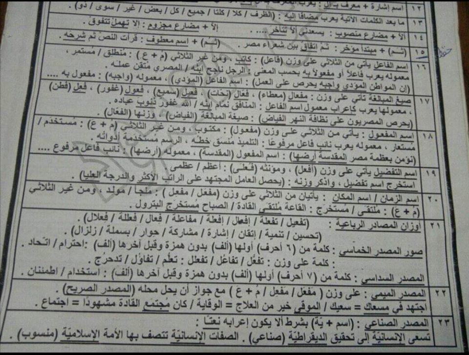 أقوى مراجعات اللغة العربية للصف الثالث الثانوي 12