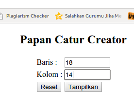 Program PHP Papan Catur