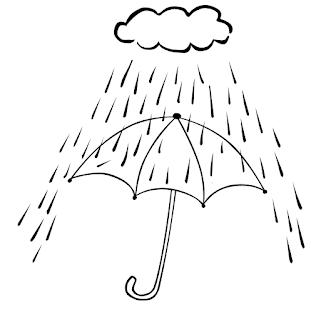 dibujo de llover y paraguas para colorear