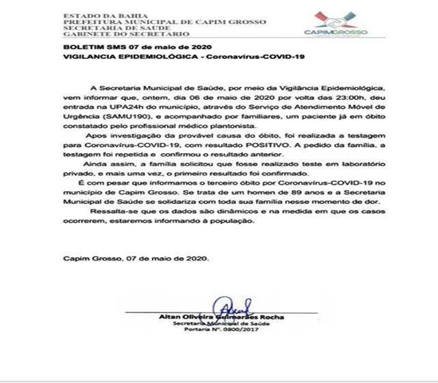 Capim Grosso registra 6º caso positivo de coronavírus e o 3º óbito