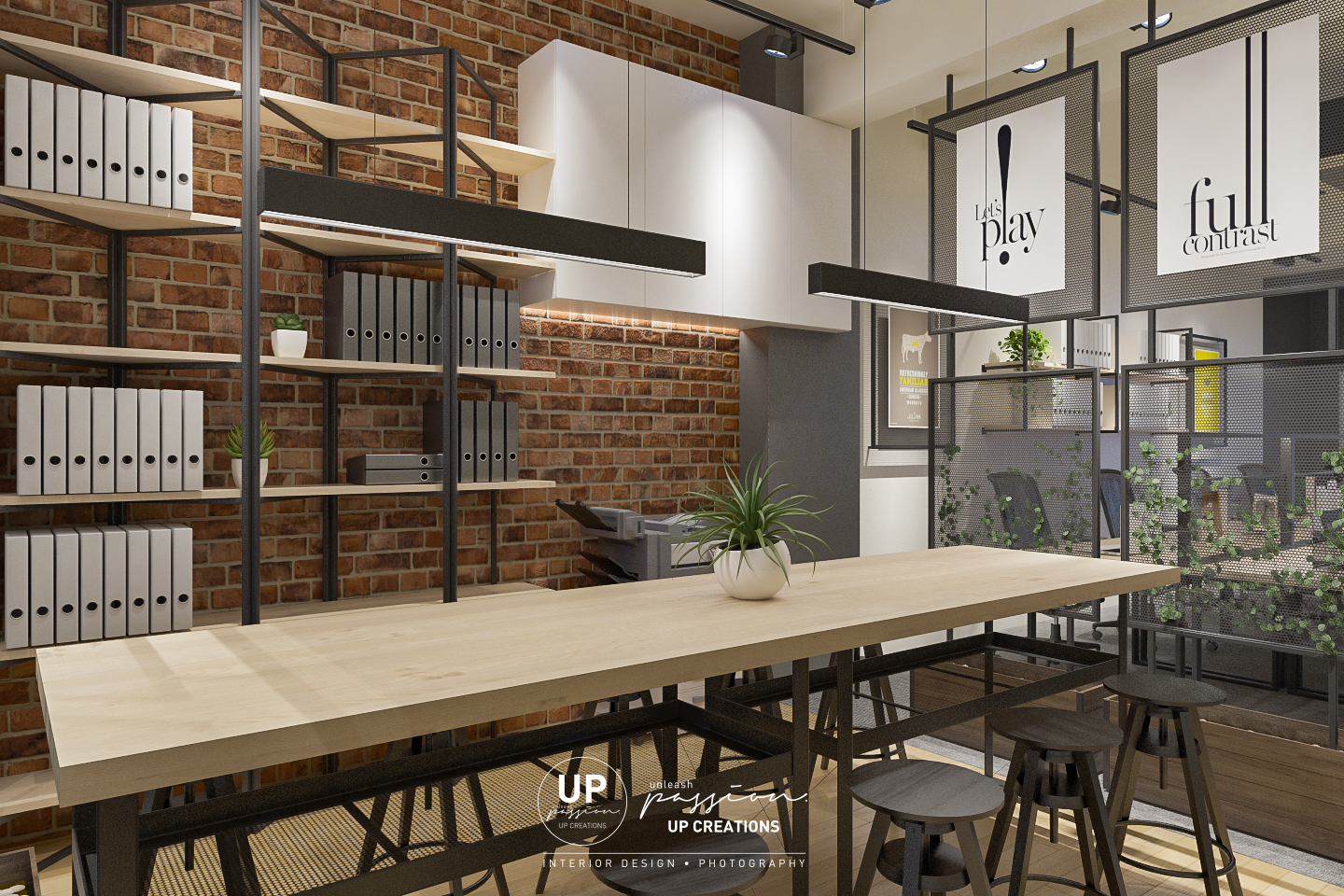 Subang vox eureka office working area with wood top table, black color racking and wood shelf, red color raw bricks, black color wire mesh divider and planter