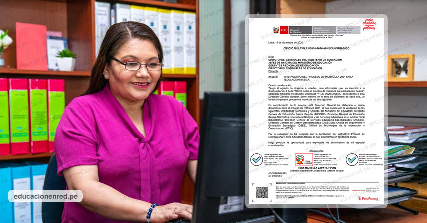 MINEDU aprueba instructivo sobre el proceso de Matrícula 2021 en la Educación Básica priorizando el uso de dispositivos electrónicos y medios digitales (Oficio Múltiple N° 00034-2020-MINEDU/VMGI-DIGC)