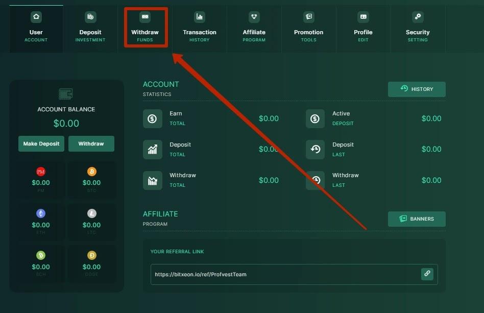 Вывод средств в BitXeon