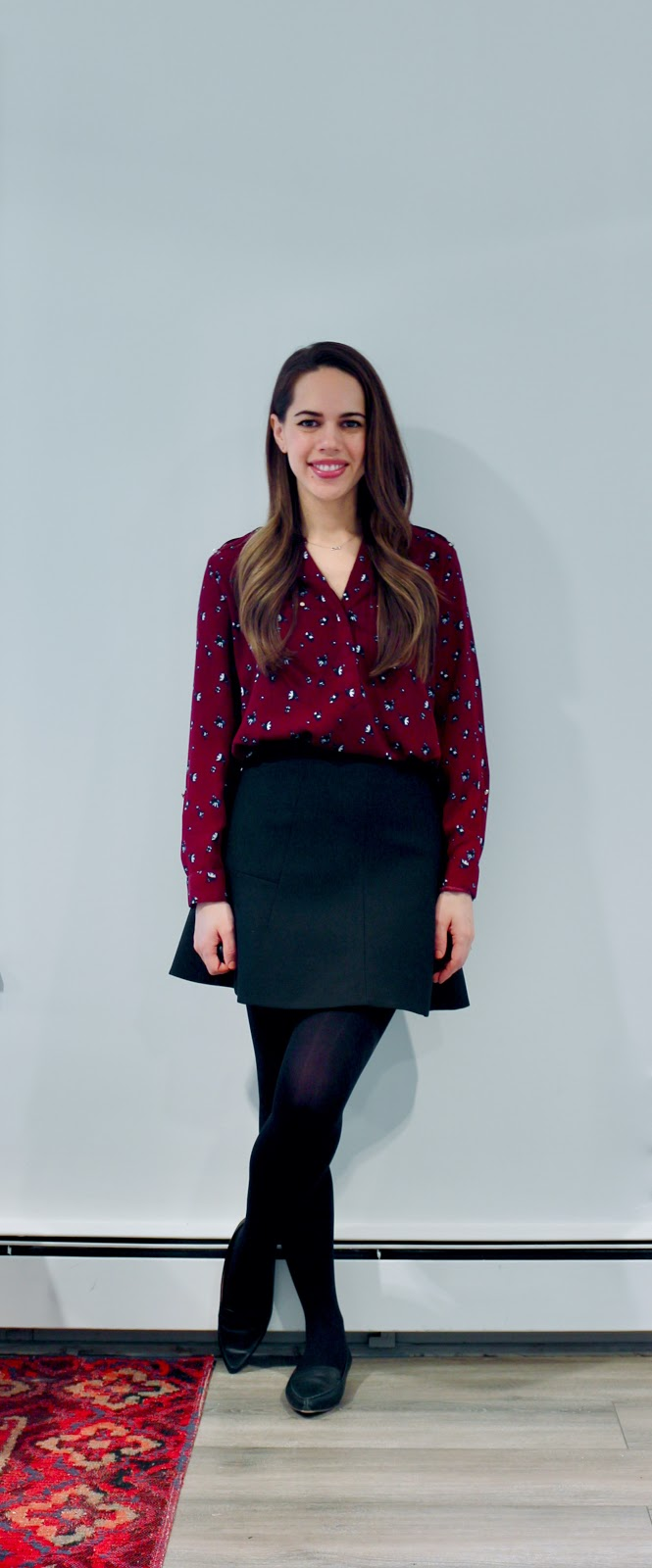 Jules in Flats - Burgundy Floral Blouse with Fit and Flare Mini Skirt (Business Casual Winter Workwear on a Budget)