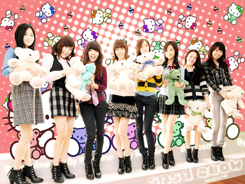 SNSD Hello Kitty Cover Wallpaper title=