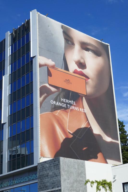 Giant Hermes Beauty lipstick billboard