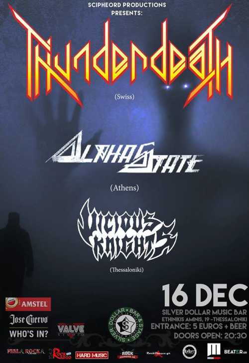 THUNDERDEATH, ALPHASTATE, VICIOUS KNIGHTS: Σάββατο 16 Δεκεμβρίου @ Silver Dollar