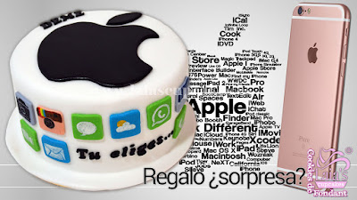 Tarta personalizada de fondant regalo apple iphone Laia's Cupcakes Puerto Sagunto