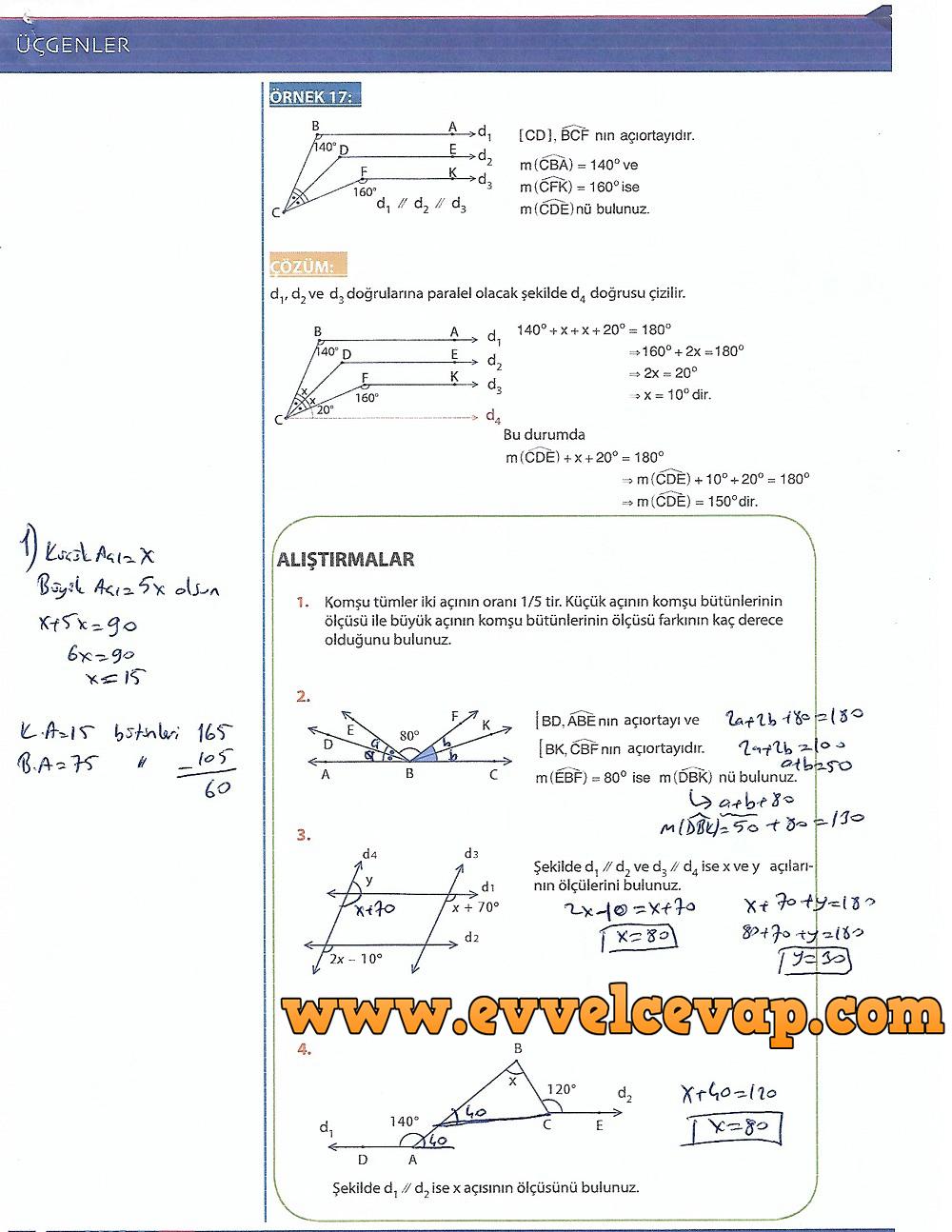 9.Sınıf Matematik MEB Yayınları Ders Kitabı 204.Sayfa Cevapları Üçgenler