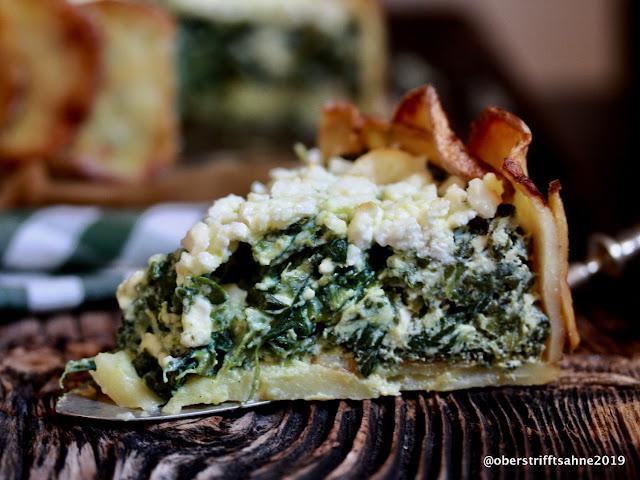 Kartoffeltorte mit Spinat,Ricotta und Feta