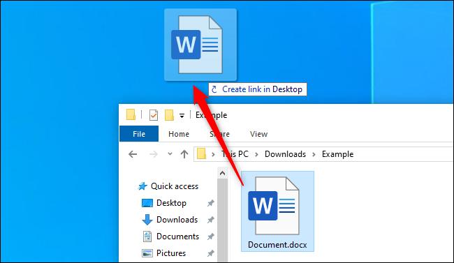 إنشاء اختصار سطح المكتب من ملف في مستكشف ملفات Windows 10
