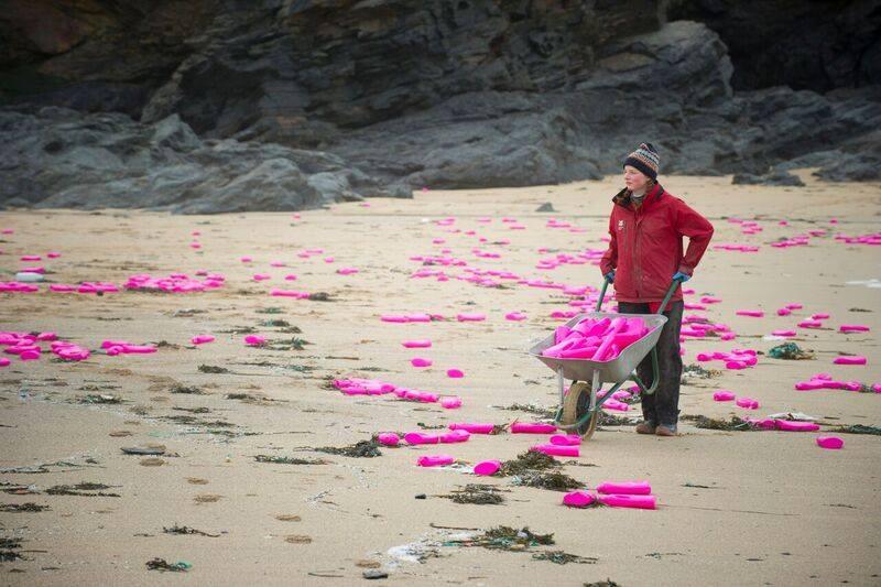 Hundreds Of Pink Bottles Wash Up On Cornish Coast