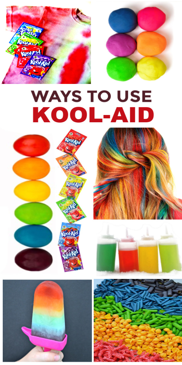Kool-aid HACKED! Crafts, recipes, experiments and kids activities using Kool-aid drink powder. #koolaid #koolaidcraftsforkids #koolaidcrafts #koolaidrecipes #koolaidactivities #koolaidexperiment #koolaidhacks #koolaidhairdye #koolaidplaydough #koolaidpickles #growingajeweledrose