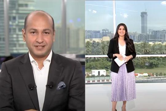 الطميحى مذيع قناة العربية يغازل زوجتة رشا خياط على الهواء