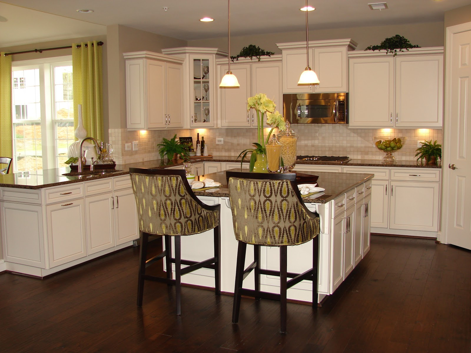 Kitchens with White Cabinets Brown