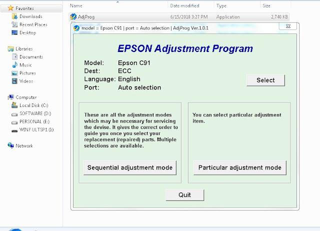 Resetter Epson Stylus C91