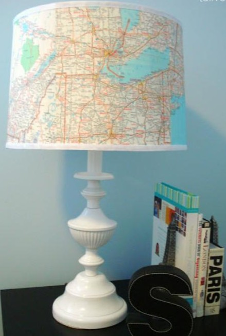 thrift store lamp makeover with map lampshade