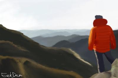 Homem olhando as montanhas