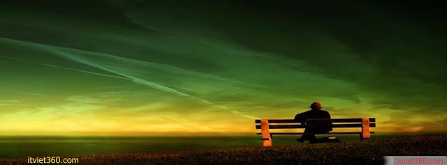 Ảnh bìa Facebook cô đơn, buồn - Alone Cover timeline FB, ngồi ghế giữa không gian rộng