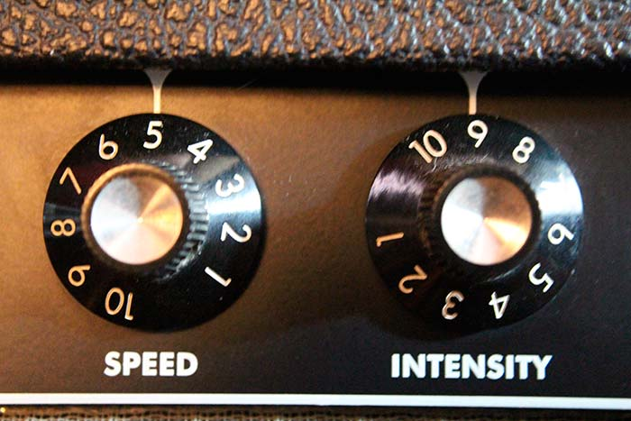 Detalle de los potenciometros del Fender Princeton Reverb, para graduar la velocidad e intensidad del efecto tremolo.