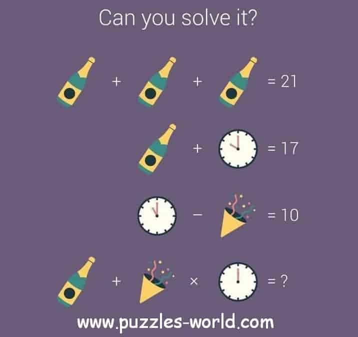Bottle + Bottle + Bottle = 21 Puzzle