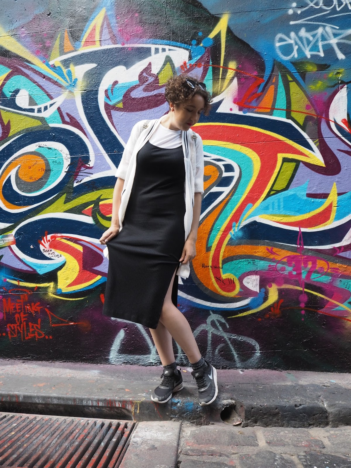 Monochrome outfit on Melbourne's Hosier Lane