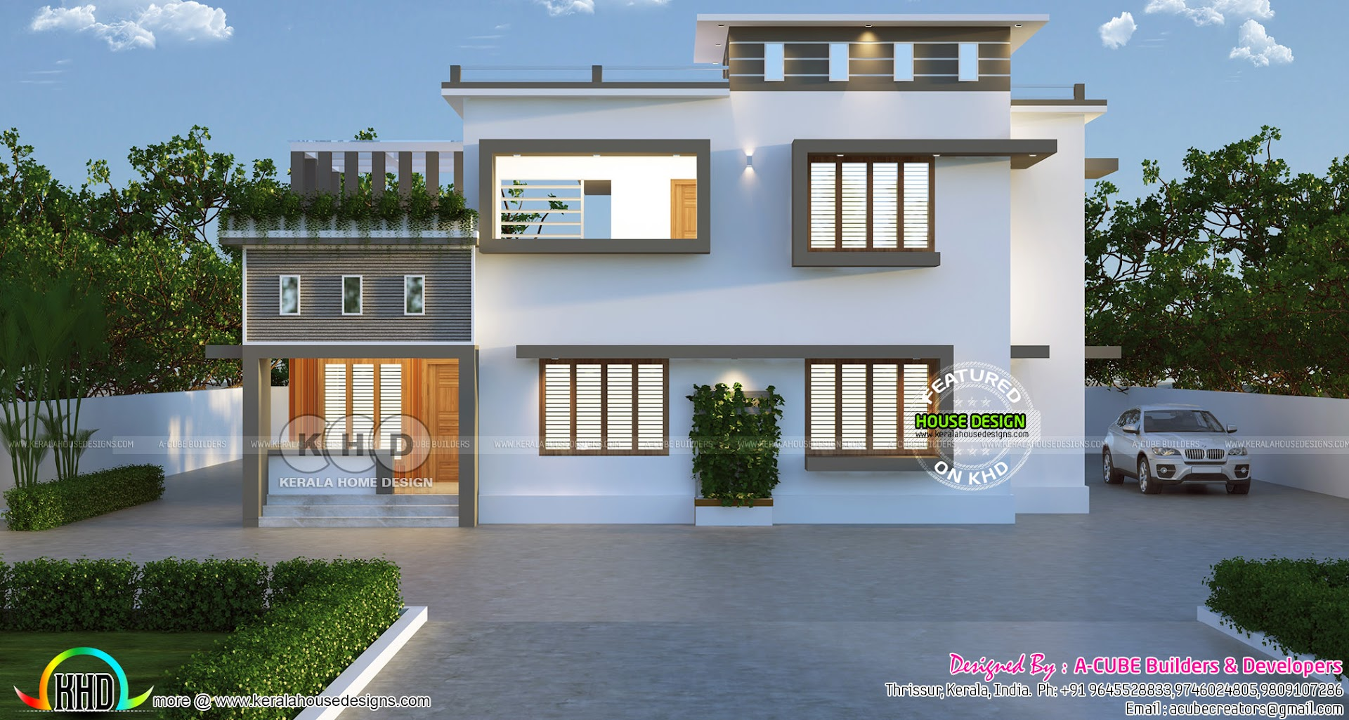 Simple Modern Flat Roof 2223 Sq Ft 4 Bhk House Kerala Home