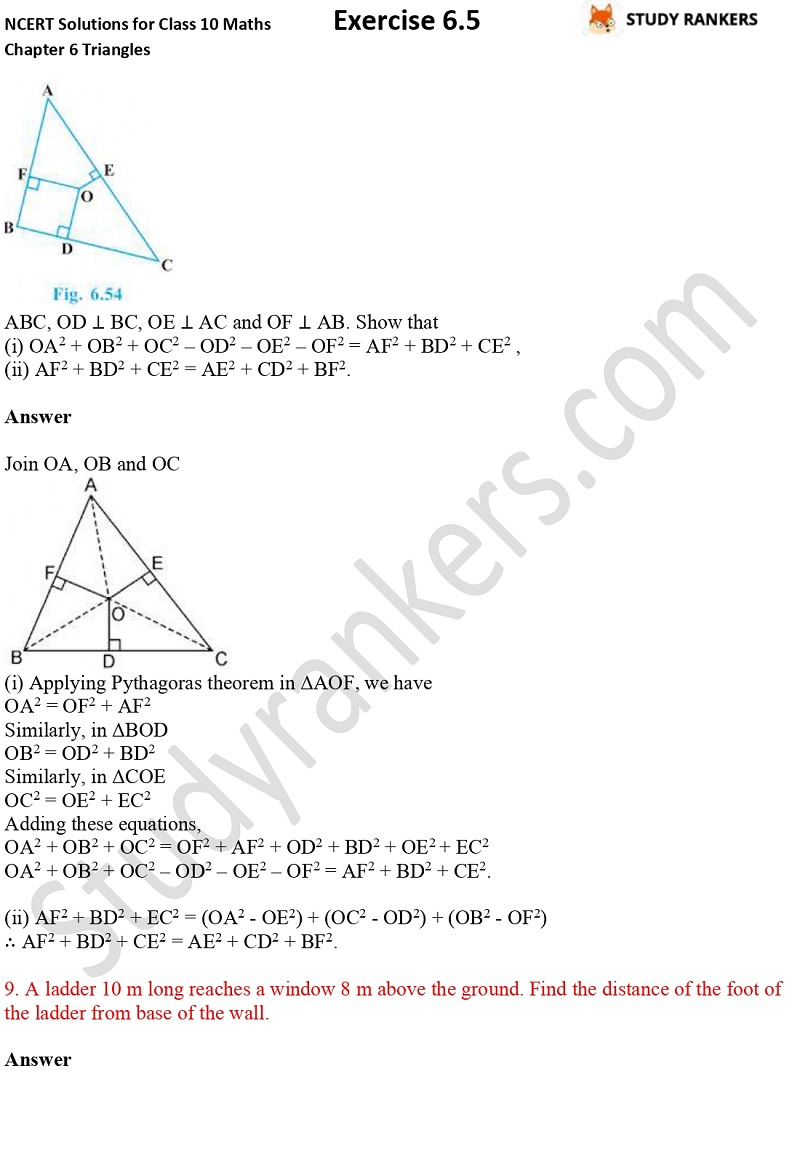 NCERT Solutions for Class 10 Maths Chapter 6 Triangles Exercise 6.5 Part 6