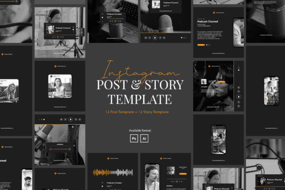 Podcast Instagram Post & Story Template[Photoshop][6216809]