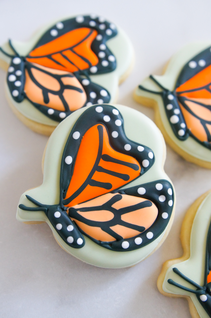 monarch butterfly cookie made from a pumpkin cookie cutter!