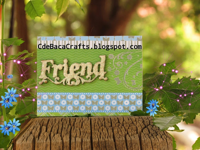 Handmade Friends Card with Butterflies and Flowers by CdeBaca Crafts Blog.