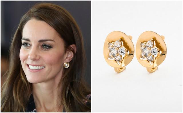 Kolczyki księżnej Kate złote z cyrkoniami