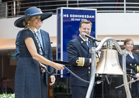 Dutch Queen Maxima baptizes the cruise ship MS Koningsdam at the harbour of Rotterdam. Queen Maxima wore Natan Dress, pumps
