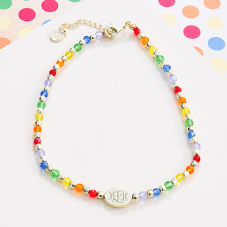 colorful monogram choker necklace