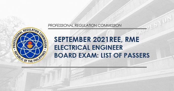 REE, RME RESULT: September 2021 Electrical Engineer board exam passers